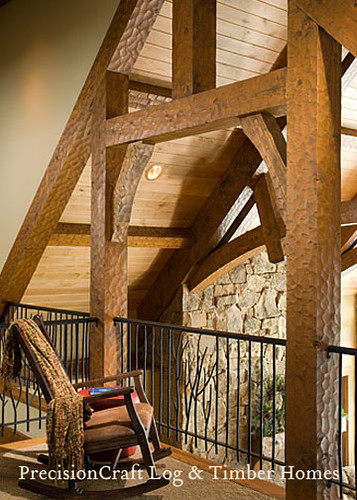 Loft Framed by Custom Timber Trusses | Timber Frame Interior | PrecisionCraft Timber Homes