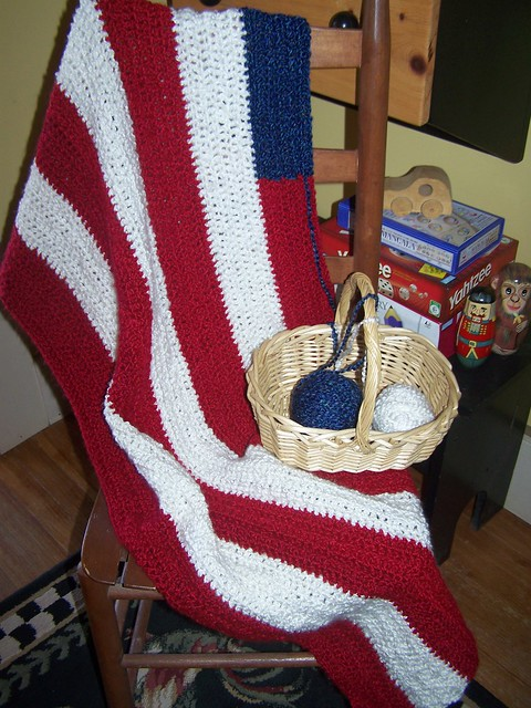 Crochet American Flag Blanket - Antiques, Art and Collectibles