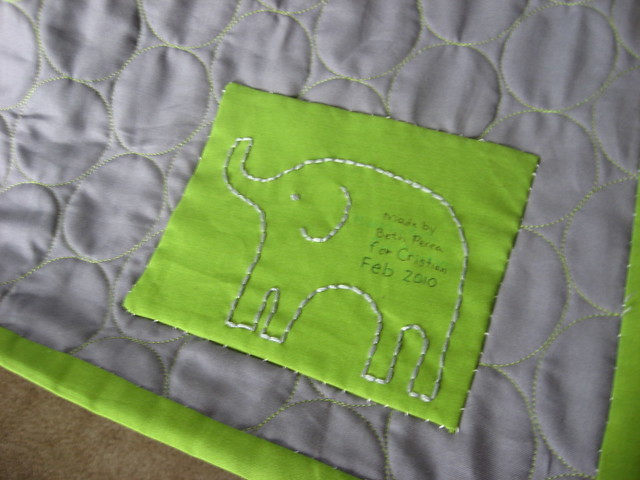 Elephant Quilt Label