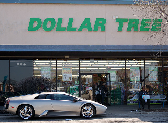 Sign of the Times: Lamborghini Parked at the Dollar Tree, Berwyn, IL., 2010