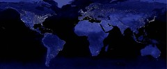 Urbanization: world night lights map