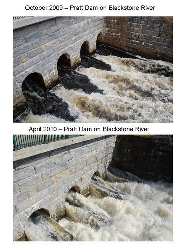 comparison of water flow at the Pratt Dam along the Blackstone River