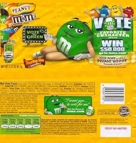 New Vote Peanut M&M's Wrapper Bag