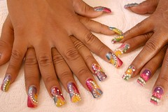 manicurist(0.0), hand(1.0), nail care(1.0), finger(1.0), artificial nails(1.0), nail(1.0), manicure(1.0), cosmetics(1.0),