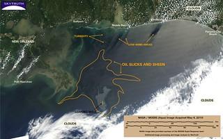 Deepwater Horizon Oil Spill – MODIS/Aqua Detail (with interpretation), May 4, 2010