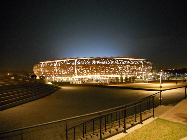 Soccer City Stadium at night