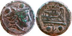 97/14 Luceria L Sextans. Roman mint. Mercury; ROMA / Prow, star, vertical stem / oLo. RR 6g04