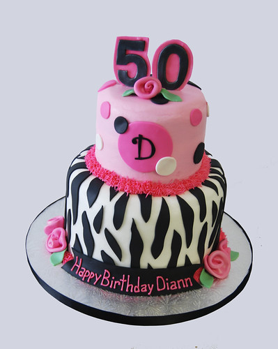 50th birthday pink and black zebra print monogram birthday cake