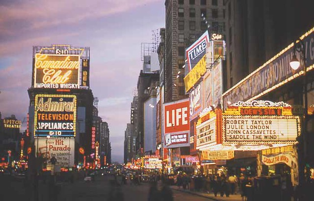 1958 TIMES SQUARE NYC 1950s vintage photo neon NEW YORK CITY