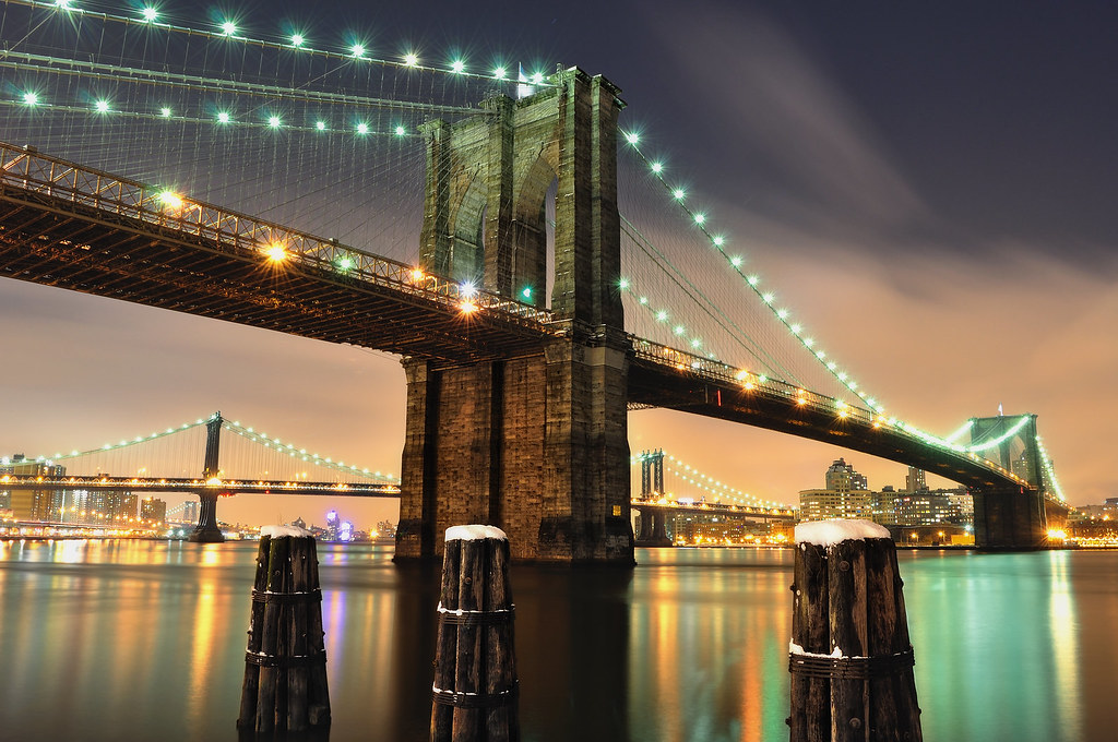 After the Snow II, Brooklyn Bridge at Night, NYC