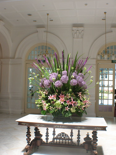 flower arrangement inside lobby of raffles hotel