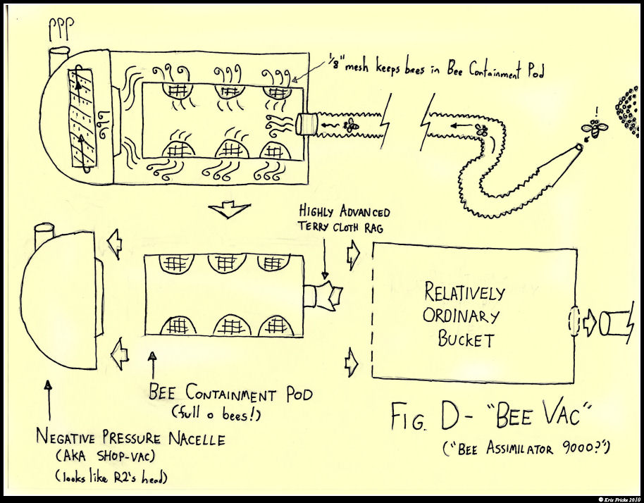 a diagram I drew of the 'bee-vac' we designed, tested, and built at work.  We've considered trying for a patent for it
