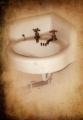 sepia sink bathroom lavatory old history historical picture photo photography photograph mikewoodfin
