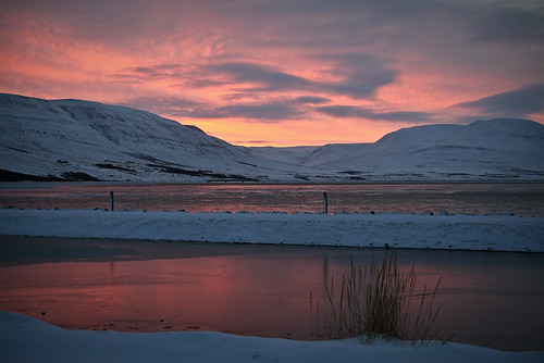 Red morning in Akureyri town