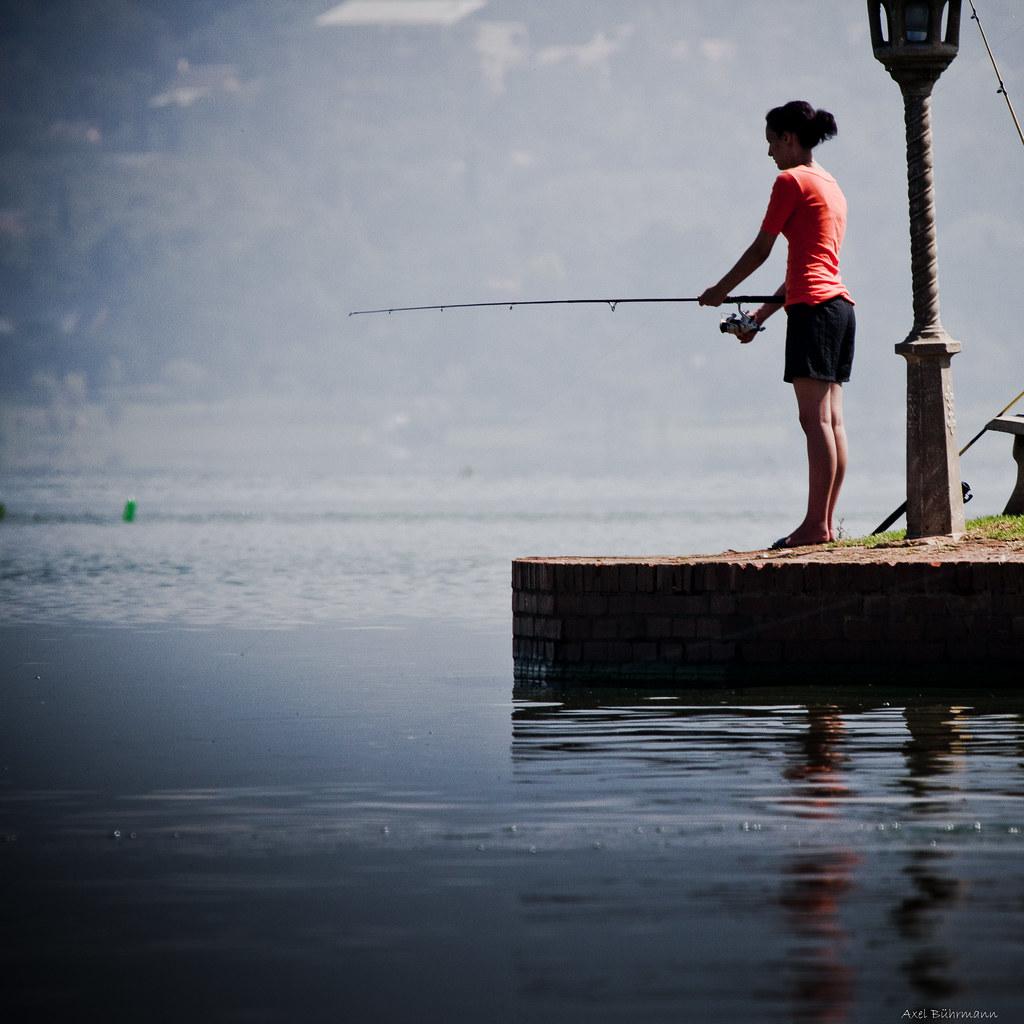 A Girl. Fishing.