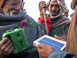 Demo of solar LED lantern usage in Mankapur Haat Market