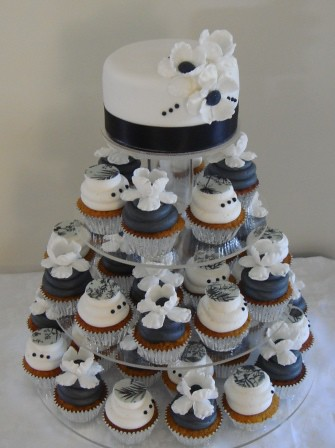 Sugar & Spice Cupcakes- Dogwood Blossom, Black & White Themed Wedding...