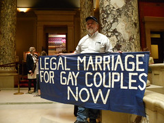 Gay marriage protester outside the Minnesota Senate chamber
