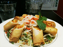 Vietnamese style spring roll salad with noodles
