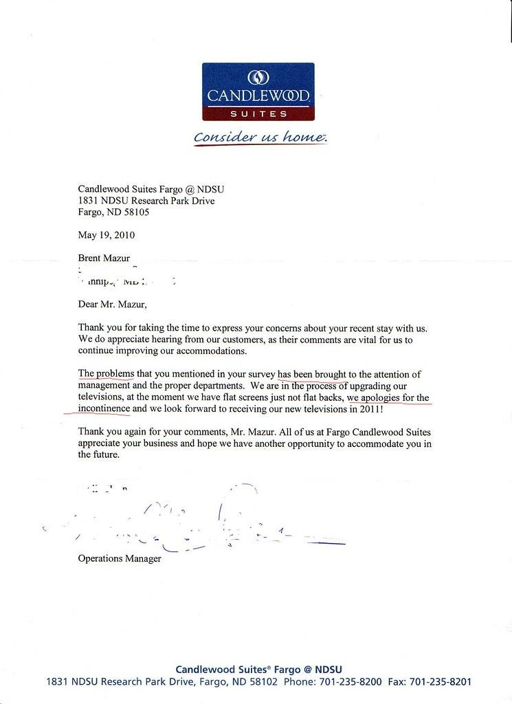 hotel apology letter Parlobuenacocinaco