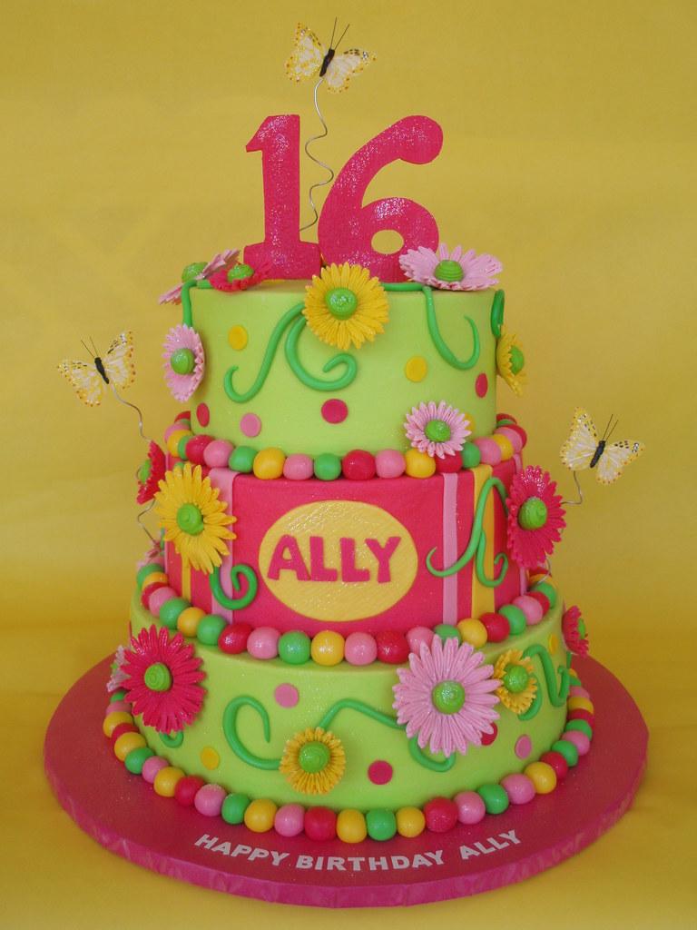 Whimsical Sweet 16 Birthday Cake