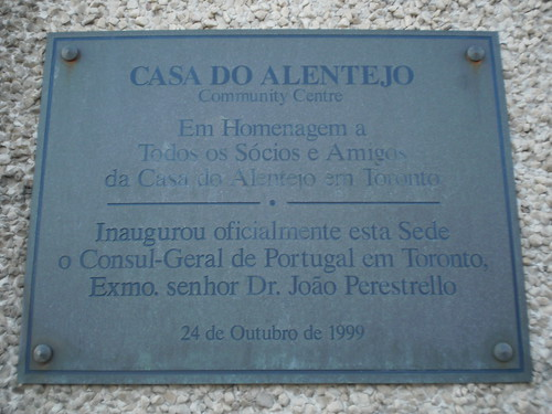 Plaque of the Casa do Alentejo, 1130 Dupont Street