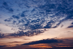Clouds on blue and purple sunset sky