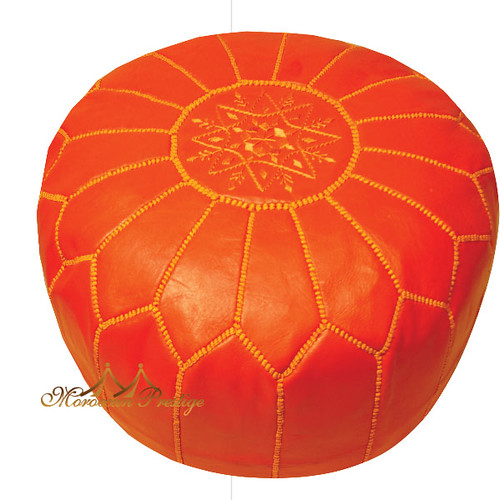 Coral Leather Pouf