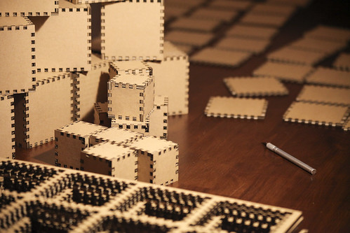 cardboard into cubes