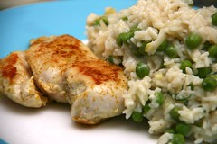 Chickenbreast and Pea Risotto with Lemon and Basil