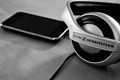 communication device, monochrome photography, gadget, monochrome, black-and-white, headphones,
