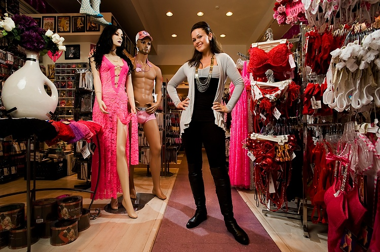 Beatrice Prochazka at Bizzy B's, her lingerie store in Hollywood, California, on January 23, 2010.  Photo © Eric Wolfe / TV3 (Norway)