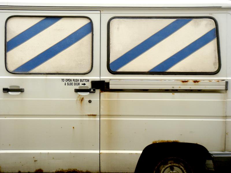 White Van Striped Windows