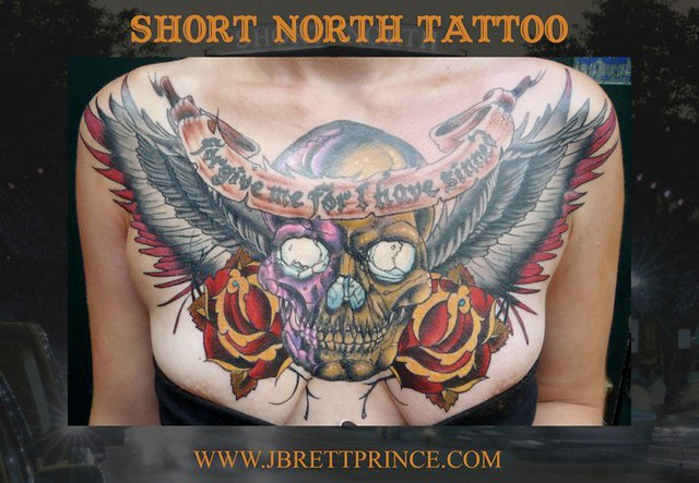 Forgive me skull and wings chest plate tattoo flickr for Chest plate tattoos