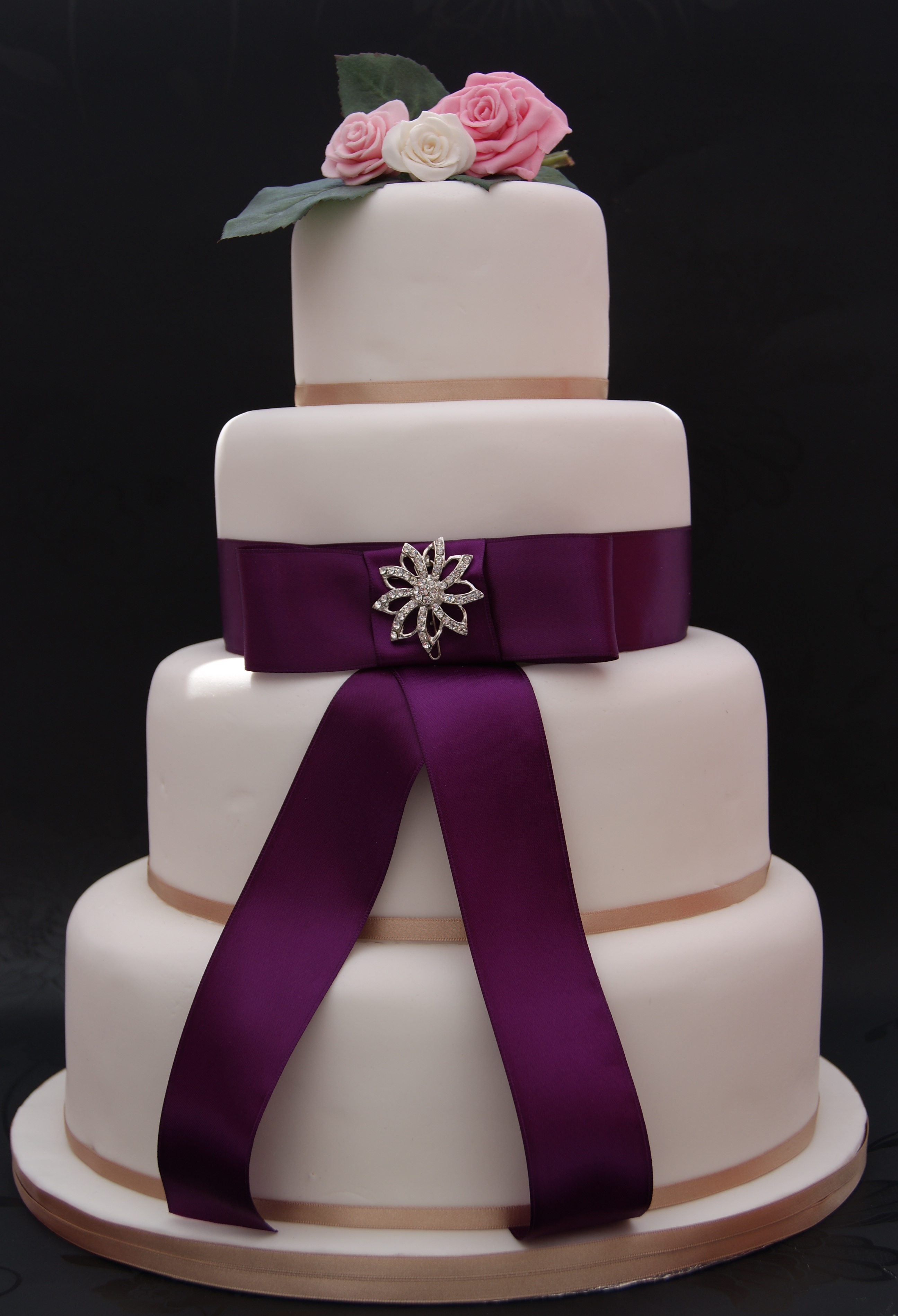 Purple Brooch Wedding Cake