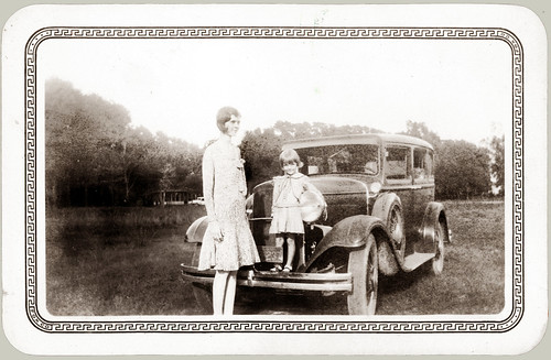 Woman and Girl with 1929 Dodge.