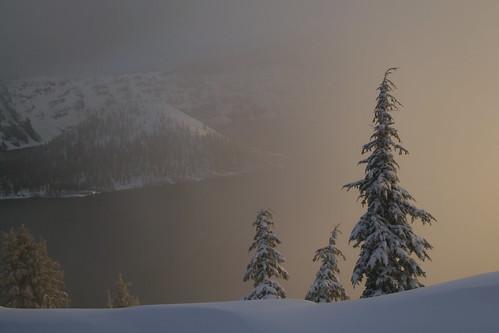 park lake snow oregon sunrise island dawn wizard national crater craterlake