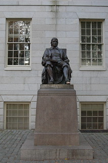 Image of John Harvard Statue. street city urban nikon university d70 harvard harvardsquare shops cambridgema ivyleague jefflaber