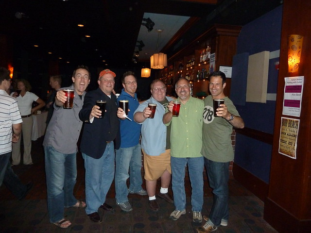 Toasting the Class of '96: Greg Koch, Mark Edelson, Bill Covaleski, Tom Kehoe, Gene Muller & Sam Calagione