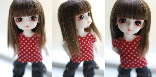 Latidoll yellow short sleeve tee - red white polka dots