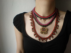 Old World - Myriad ... Freeform Beaded Crochet Necklace