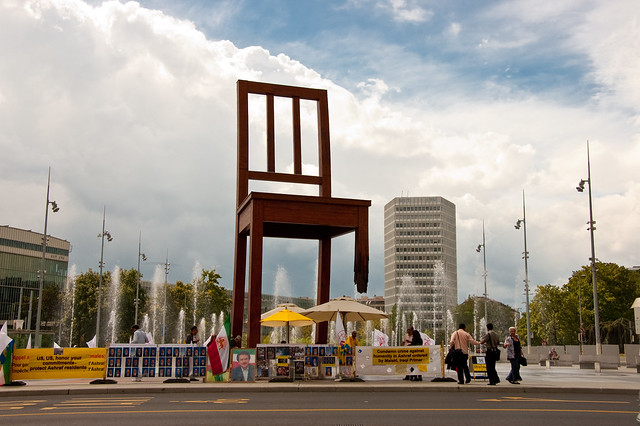 giant legless chair art installation in front of U.N. HQ