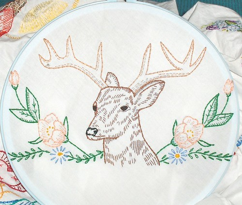 Deer and Flowers, from Vintage Embroidery Patterns