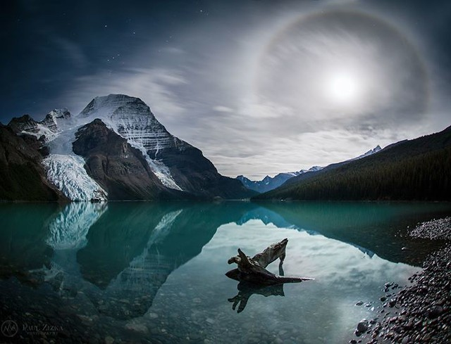 Crazy night at Berg Lake. One of those times I wish I'd taken the time to breathe and compose properly - haha! Still, a lunar halo on a windless night at Mount Robson is a rare sight, so I thought I would share with you all! :-) BC Parks Destination Briti