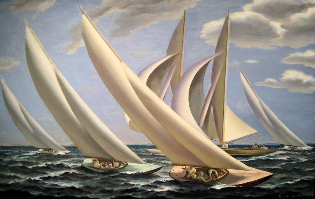 Gerald Sargent Foster - Racing, 1934 New Deal Painting at Smithsonian American Art Museum Washington DC