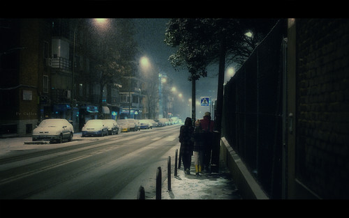 At night, under the falling snow..
