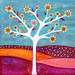 Amber Tree Art Abstract Collage Tree Painting by Sascalia