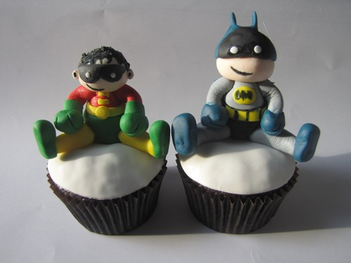 Tiny Titans Batman and Robin Cupcakes