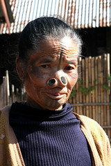 Apatani woman in the village of Hong, Arunachal Pradesh