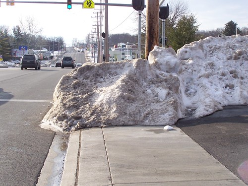 Snow piles blocking a crosswalk, York Road, Baltimore County
